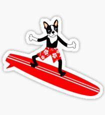 Boston Terrier Surfer Sticker