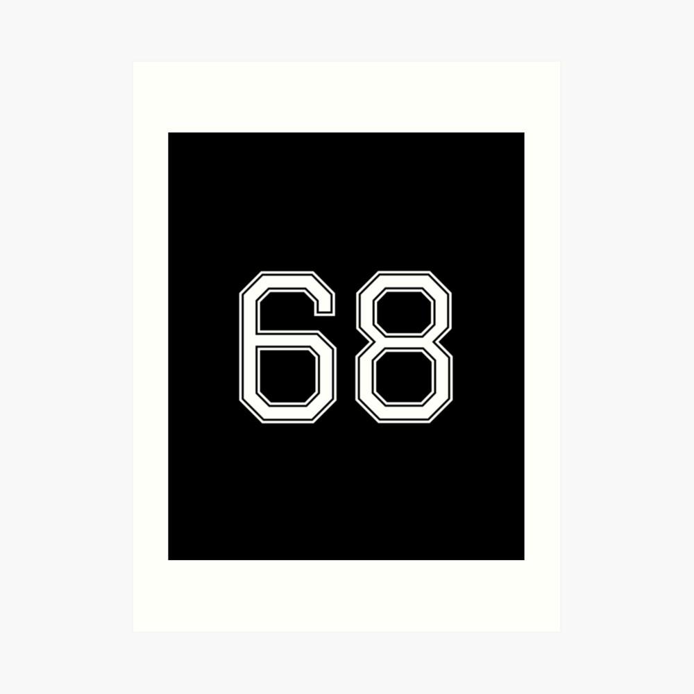 Nummer 68 American Football Spielernummer Sport Design Kunstdruck