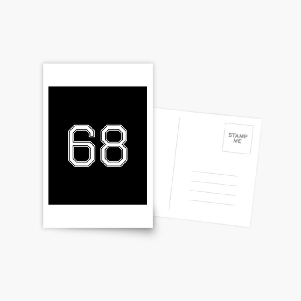 Nummer 68 American Football Spielernummer Sport Design Postkarte