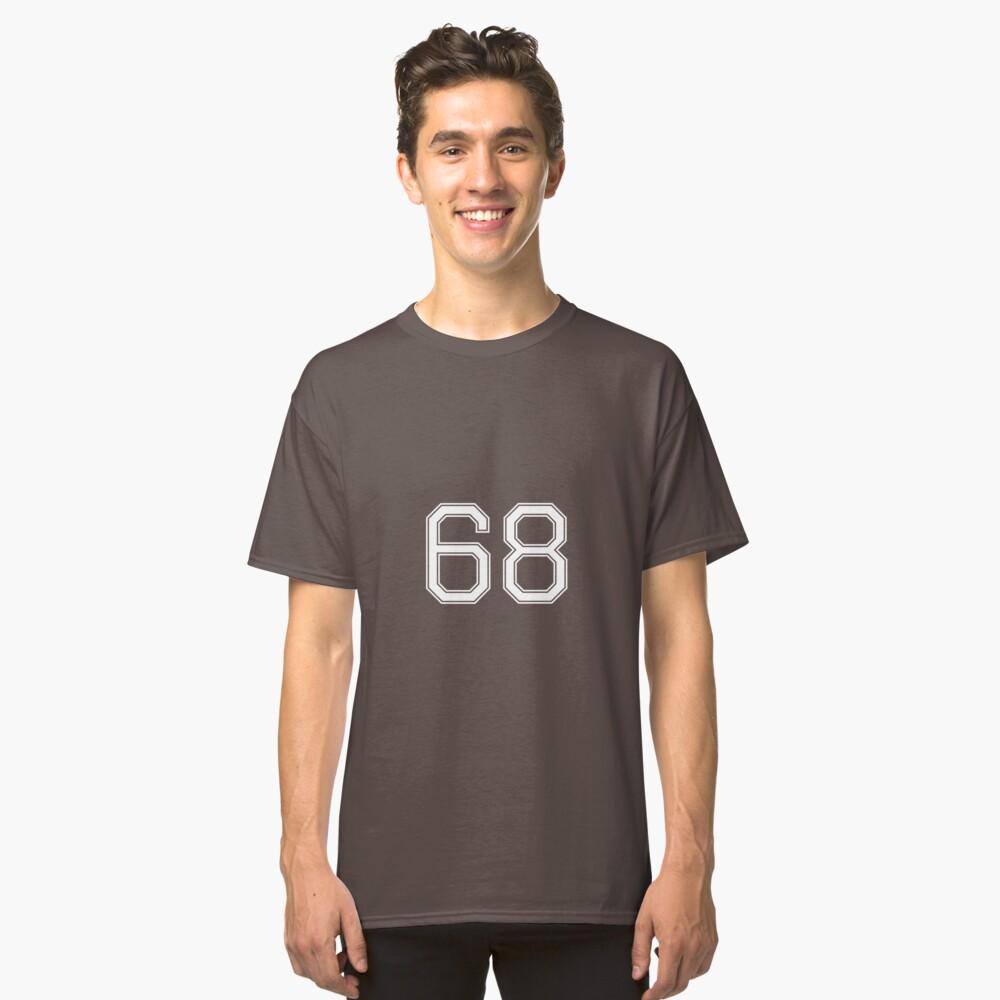 Nummer 68 American Football Spielernummer Sport Design Classic T-Shirt