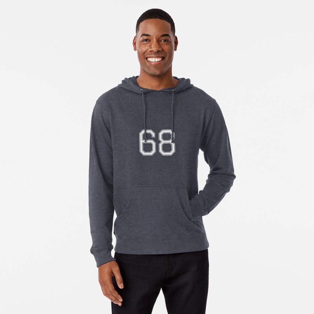Nummer 68 American Football Spielernummer Sport Design Leichter Hoodie