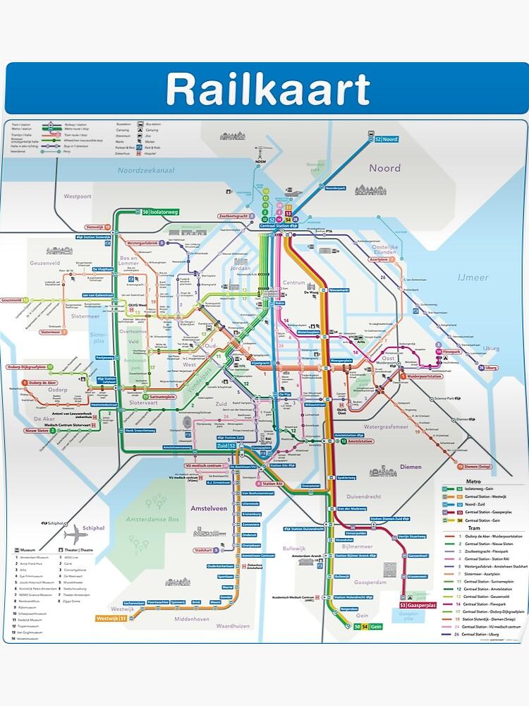 Amsterdam - Netherlands - Rail Map - Metro & Tram - HD   Poster on berlin map, israel map, holland map, stockholm on map, belgium map, copenhagen map, rotterdam map, hamburg map, moscow map, madrid map, athens map, budapest on map, denmark map, edinburgh map, the netherlands map, constantinople map, europe map, leiden map, kinderdijk map, world map,