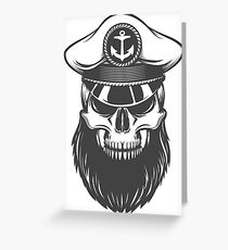 Skull with Beard in Captain Hat Greeting Card