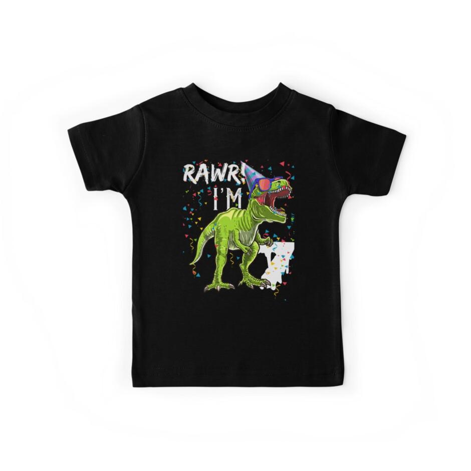 60ab7dd28 Rawr I'm 7 7th Birthday Dinosaur kids boys