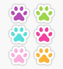 Pegatina Etiquetas engomadas coloridas de la impresión de la pata - púrpura, verde, aguamarina, rosa fuerte y naranja