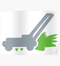 Lawn mower with cut grass Poster