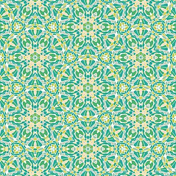Renewal Mandala Pattern in Green and Yellow by kellydietrich
