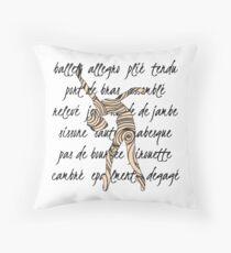 Ballet Terminology Swirls Dance Teacher square Throw Pillow