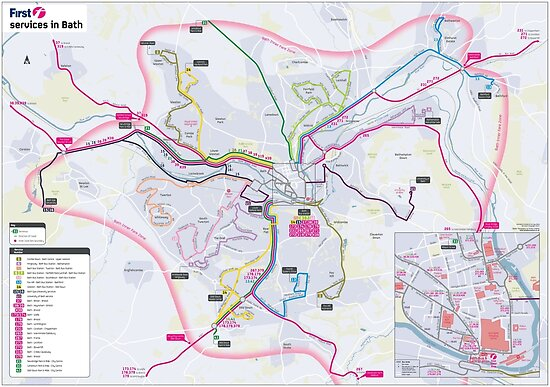 Map Of South England Uk.Bath South West Bus Map England Uk Hd Posters By