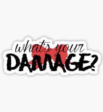Pegatina ¿Cuál es tu daño? (Arco rojo)