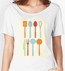 Kitchen Utensil Colored Silhouettes on Cream Women's Relaxed Fit T-Shirt