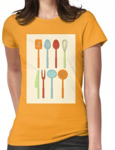 Kitchen Utensil Colored Silhouettes on Cream Womens Fitted T-Shirt