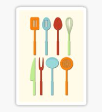 Kitchen Utensil Colored Silhouettes on Cream Sticker