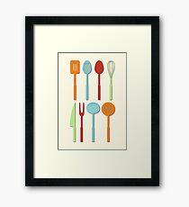 Kitchen Utensil Colored Silhouettes on Cream Framed Print