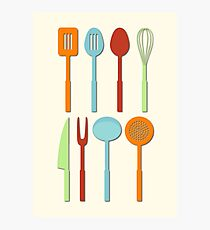 Kitchen Utensil Colored Silhouettes on Cream Photographic Print