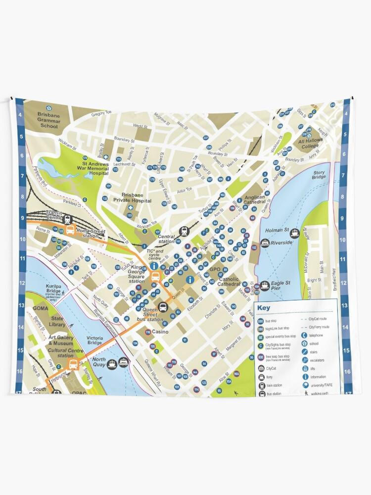 Brisbane - Australia - CBD Bus Stop Map - HD   Wall Tapestry