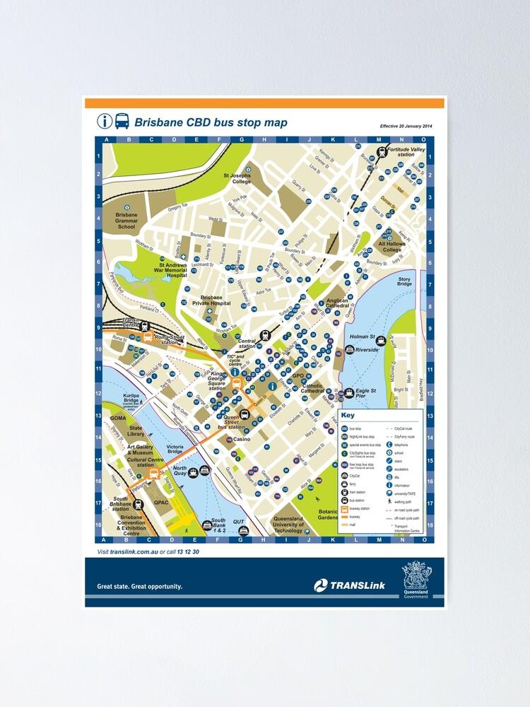Brisbane - Australia - CBD Bus Stop Map - HD   Poster