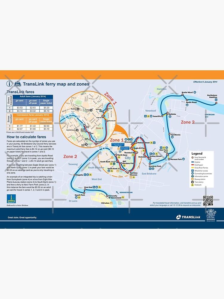 Brisbane - Australia - Ferry Map - HD\