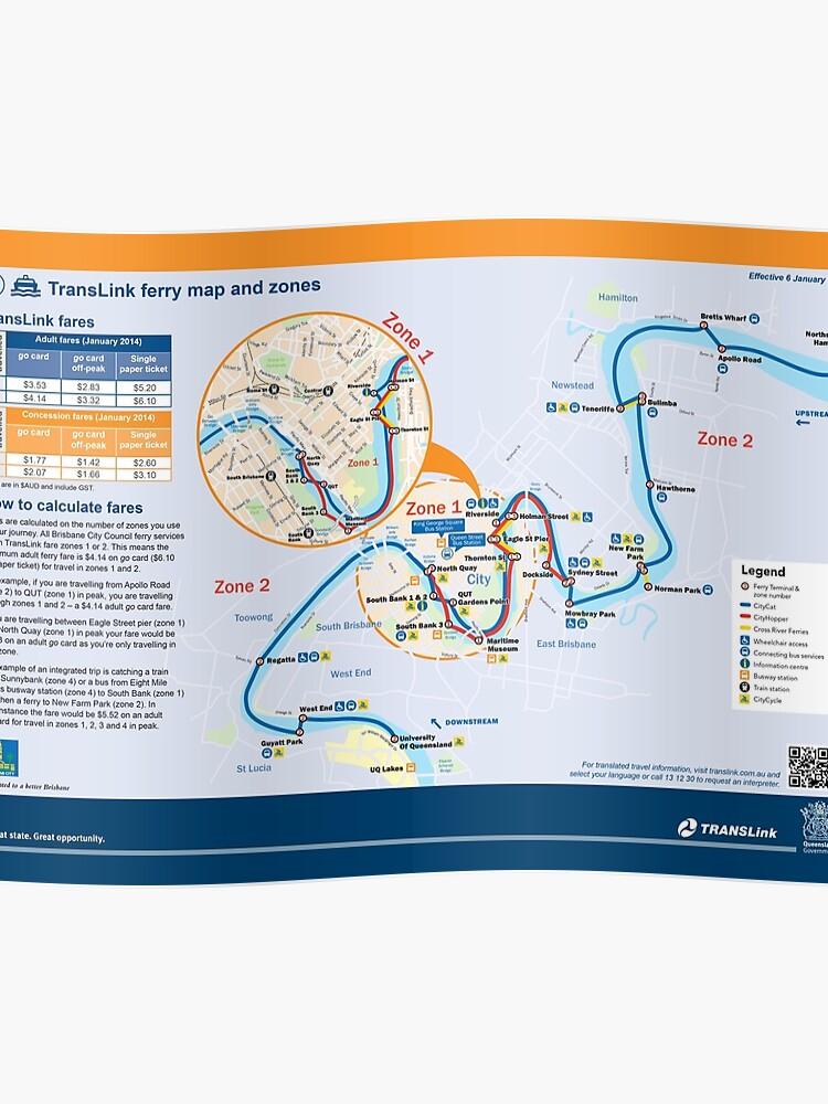 Brisbane - Australia - Ferry Map - HD | Poster
