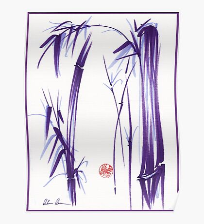 """""""Lilac Bamboo Forest"""" Original ink and wash chinese brush painting Poster"""