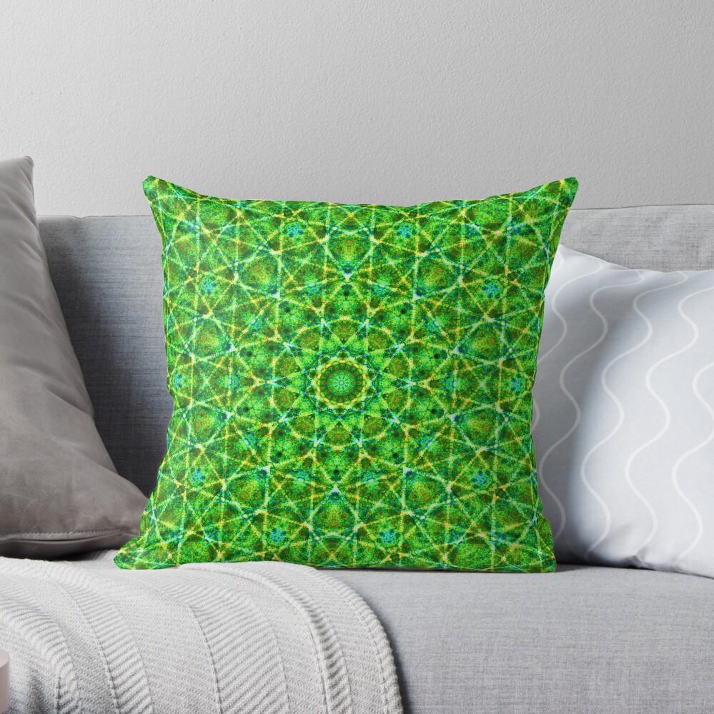 Grünes Netz Kaleidoskop Dekokissen