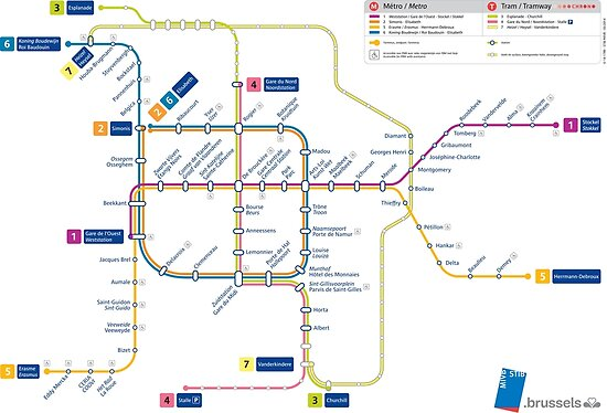 \'Brussels - Belgium - Metro and Tramway Map - HD\' Poster by superfunky