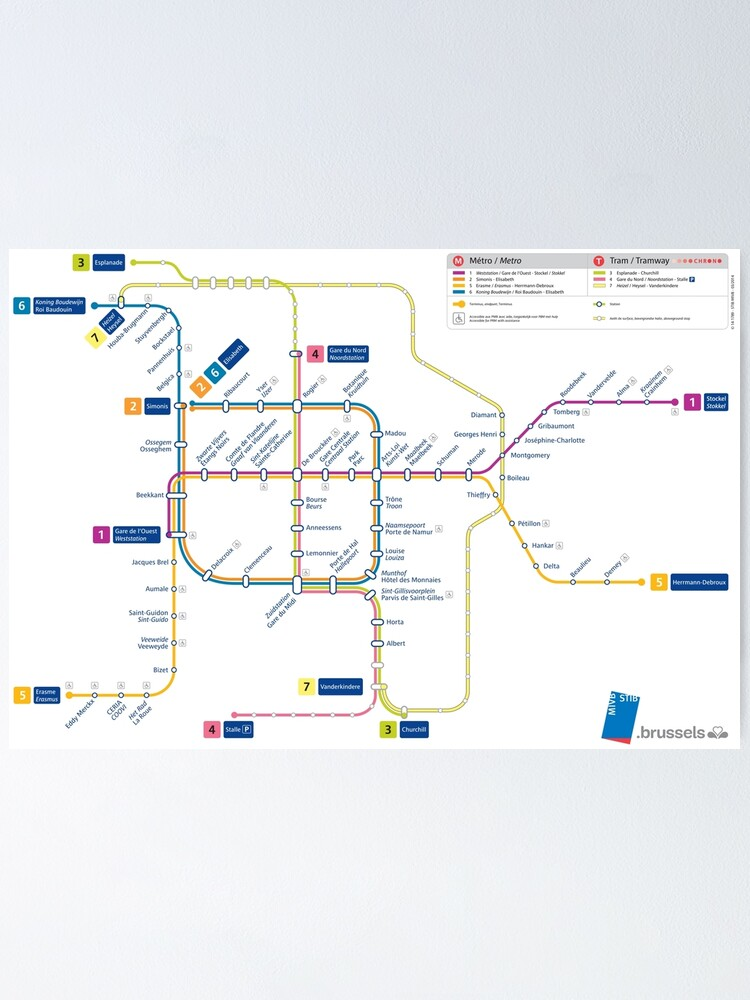 Brussels - Belgium - Metro and Tramway Map - HD   Poster