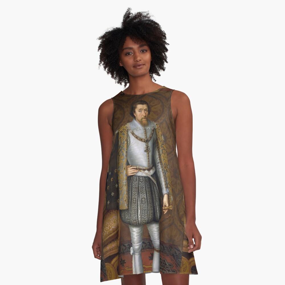 Portrait of King James I of England A-Line Dress