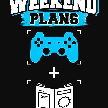 Funny Gaming Comic Books Superhero Weekend Plans Comics Gamer Blue by normaltshirts