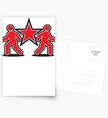 Dancing shuffle man RED STAR Postcards