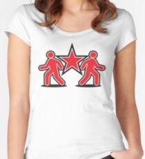 Dancing shuffle man RED STAR Women's Fitted Scoop T-Shirt