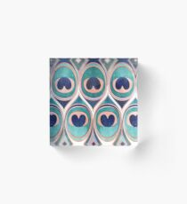 Peacock Feathers Eye // teal blue and metal coral rose Acrylic Block