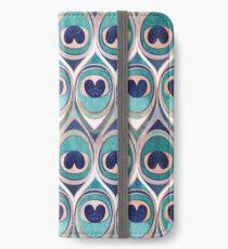 Pfauenfedern Auge // blaugrün blau und Metall Korallenrose iPhone Flip-Case/Hülle/Skin