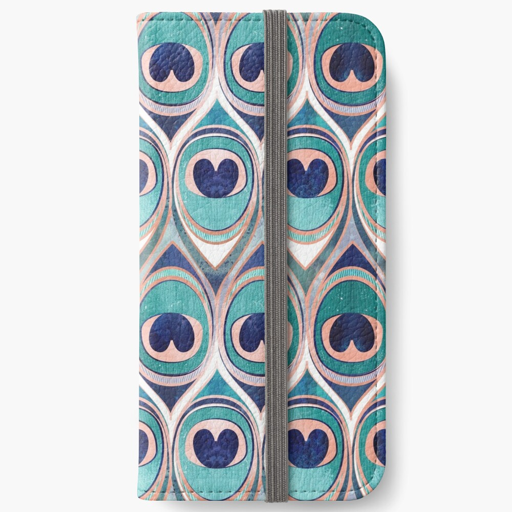 Peacock Feathers Eye // teal blue and metal coral rose iPhone Wallet
