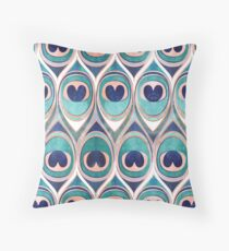 Peacock Feathers Eye // teal blue and metal coral rose Throw Pillow