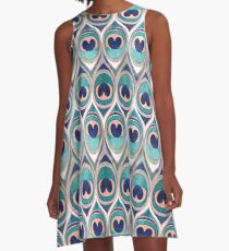 Peacock Feathers Eye // teal blue and metal coral rose A-Line Dress