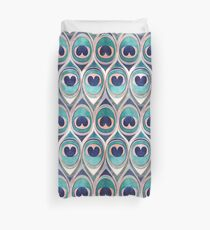 Peacock Feathers Eye // teal blue and metal coral rose Duvet Cover