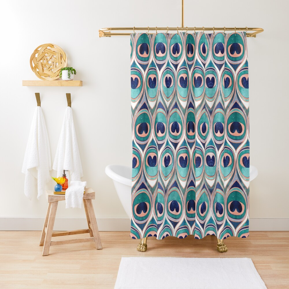 Peacock Feathers Eye // teal blue and metal coral rose Shower Curtain