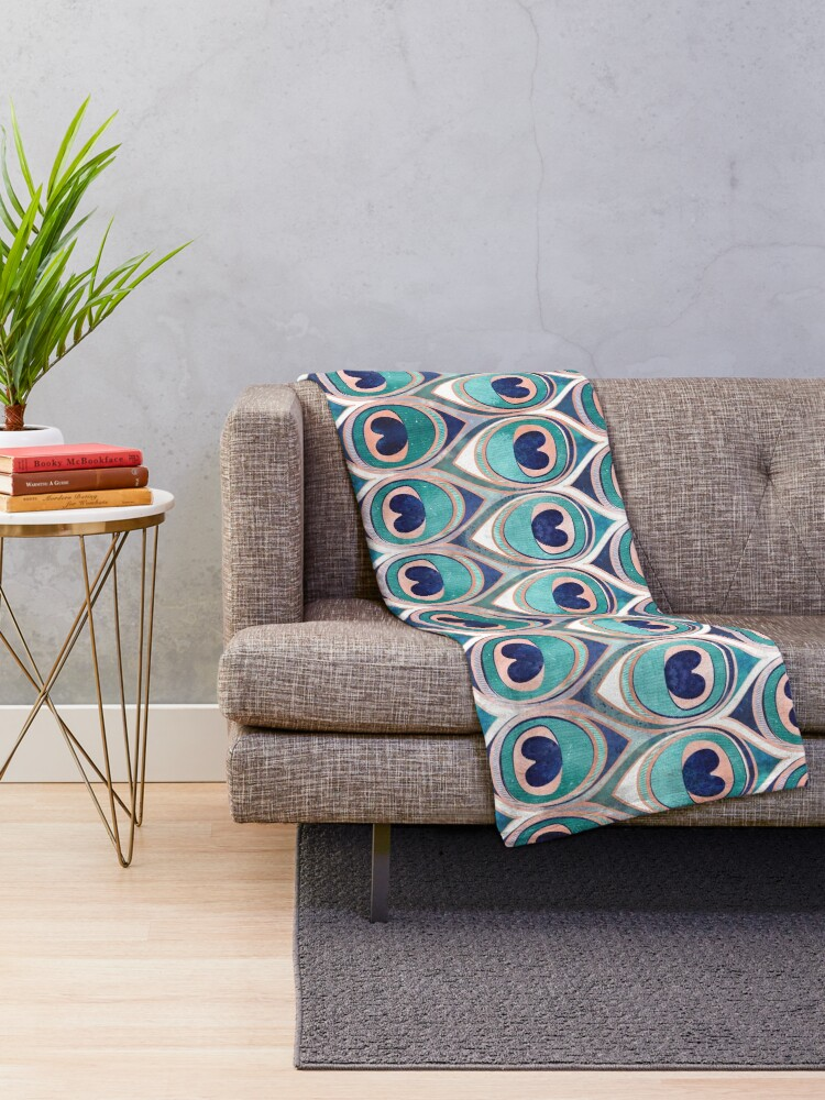 Alternate view of Peacock Feathers Eye // teal blue and metal coral rose Throw Blanket