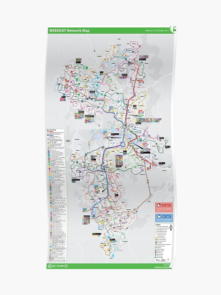 Canberra Australia Map.Canberra Australia Weekday Bus Map Hd Poster