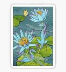 Dragonflies and Lotus Sticker