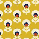 Retro Frühlingsblumenmuster - Senfgelb von ShowMeMars