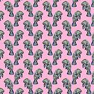 Pink Watercolor Manatee Pattern by TimorousEclectc