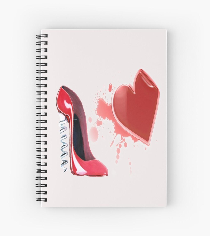 Red Bleeding Heart and Corkscrew Stiletto Shoe Art by ckeenart