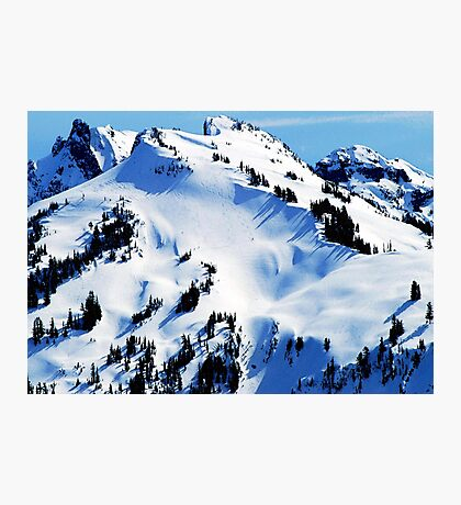 Back Country Downhill Skiers Photographic Print