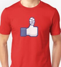 thumbs up, like, facebook, like it, bandage wrapped around an injured finger T-Shirt