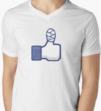 thumbs up, like, facebook, like it, bandage wrapped around an injured finger Men's V-Neck T-Shirt