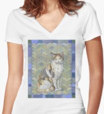 Calico Cat Fitted V-Neck T-Shirt