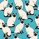 «Gatos siameses densos sobre turquesa» de nadyanadya