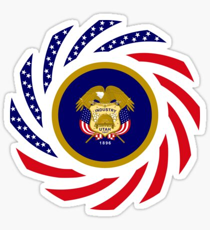 Utah Murican Patriot Flag Series Glossy Sticker